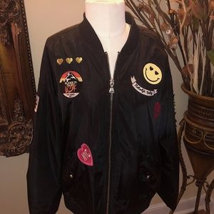 EXPRESS BLACK BOMBER WITH PATCHES SIZE M